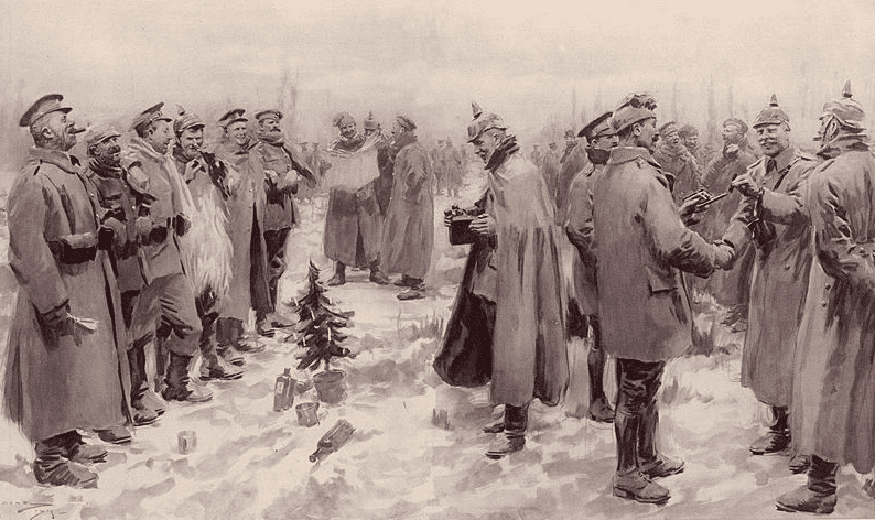 "Illustration: the ""Illustrated London News"" depiction of the WWI Christmas Truce of 1914: ""British and German Soldiers Arm-in-Arm Exchanging Headgear: A Christmas Truce between Opposing Trenches."""