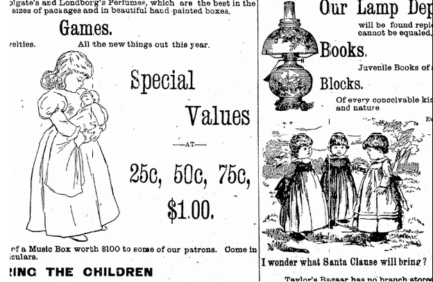 toys ad, Jackson Citizen Patriot newspaper advertisement 13 December 1890