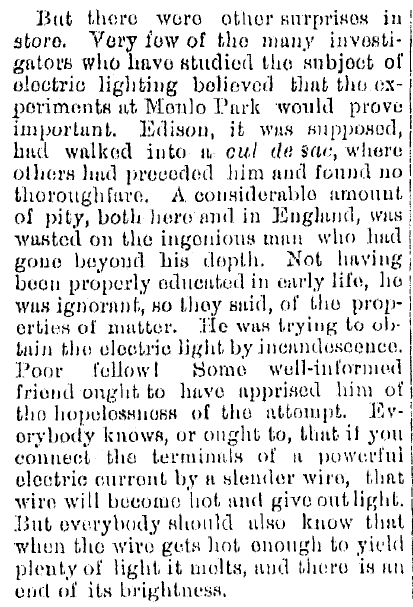 article about Thomas Edison and his invention of the electric light bulb, Kalamazoo Gazette newspaper article 1 October 1879