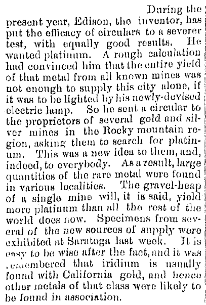 article about Thomas Edison and his use of platinum in electric light bulbs, Kalamazoo Gazette newspaper article 1 October 1879
