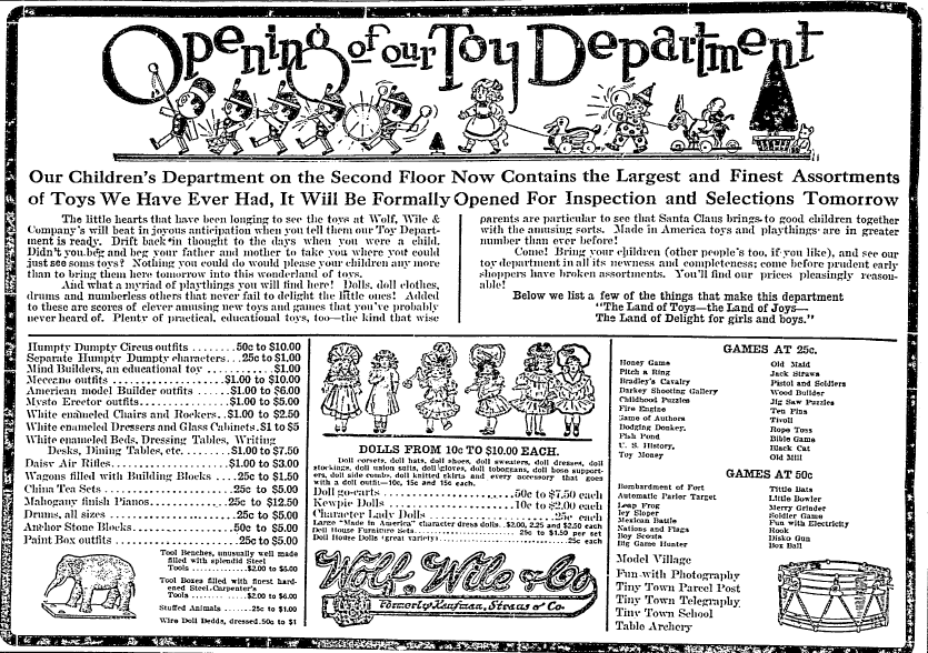Christmas toys ad, Lexington Herald newspaper advertisement 29 November 1914