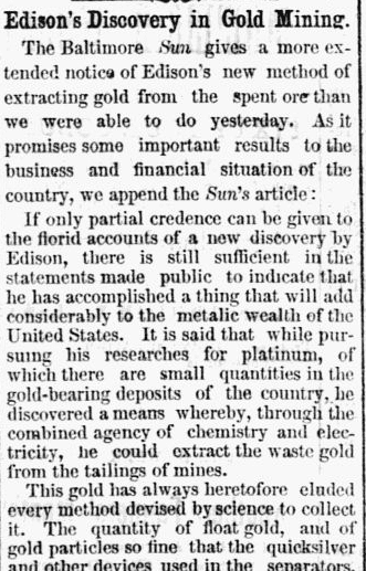 Edison's Discovery in Gold Mining, Macon Telegraph newspaper article 2 April 1880