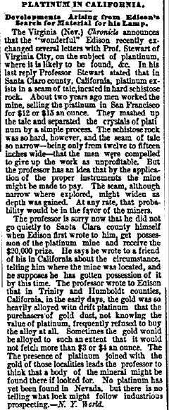 Platinum in California, New Haven Register newspaper article 26 July 1879