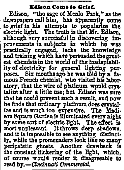article about Thomas Edison inventing the electric light bulb, New Haven Register newspaper article 16 August 1879