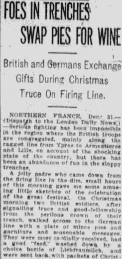 article about WWI Christmas truce in 1914, Pawtucket Times newspaper article 31 December 1914