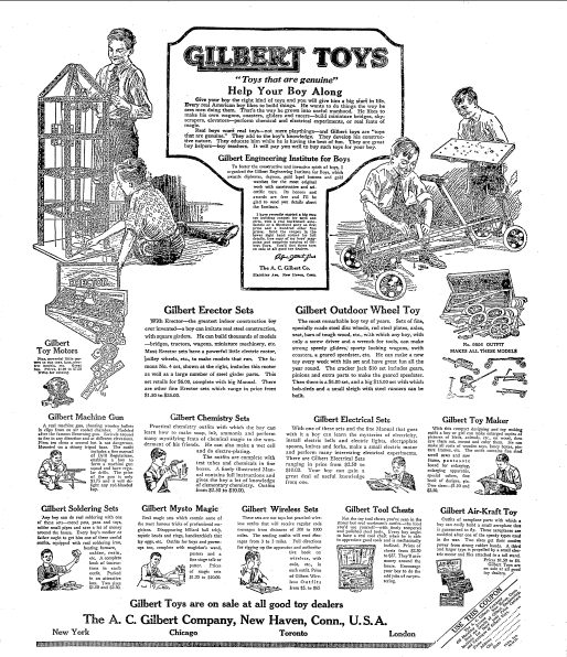 Christmas toys ad, Philadelphia Inquirer newspaper advertisement 14 December 1919