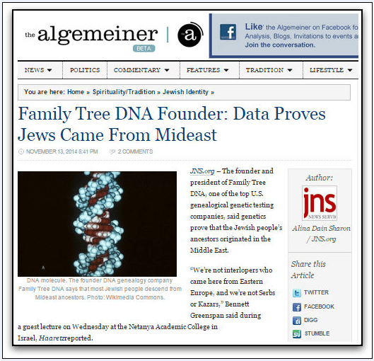 article about DNA tests proving Jews came from the Middle East, Algemeiner, 13 November 2014