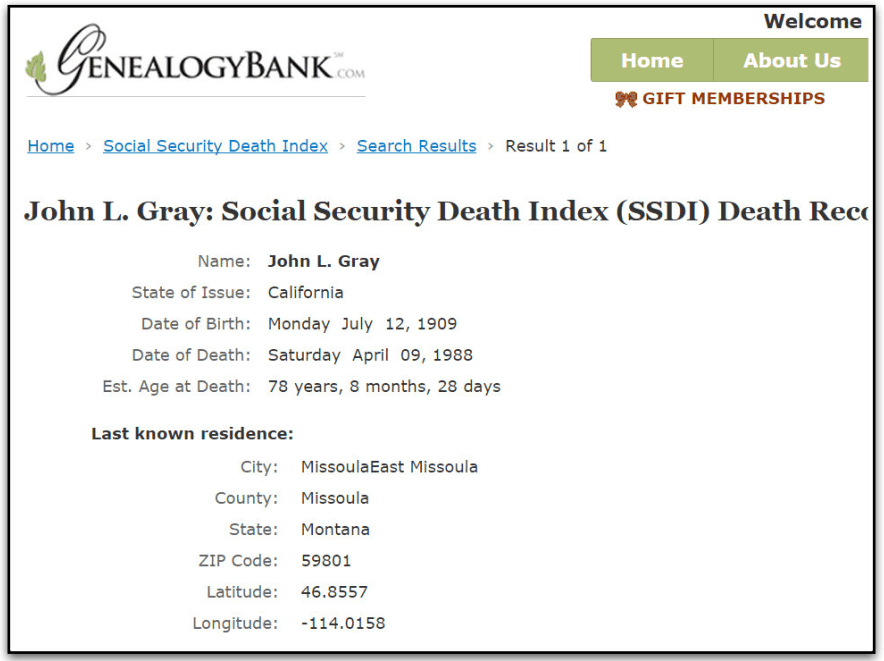 Social Security Death Index record for John L. Gray