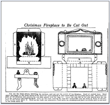 fireplace cut-out pattern for children, Baltimore American newspaper article 13 December 1903