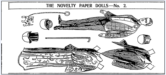 paper doll cut-outs, Boston Journal newspaper article 2 February 1902