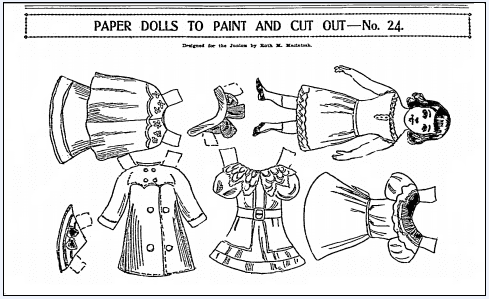 paper doll cut-outs, Boston Journal newspaper article 29 December 1901