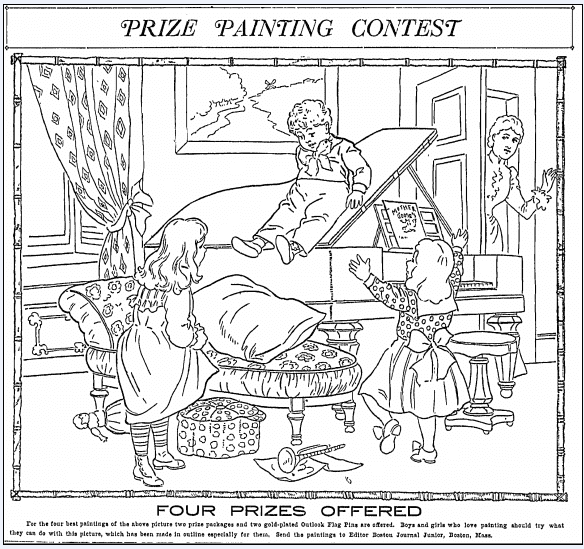 outline scene for a children's painting contest, Boston Journal newspaper article 13 March 1904