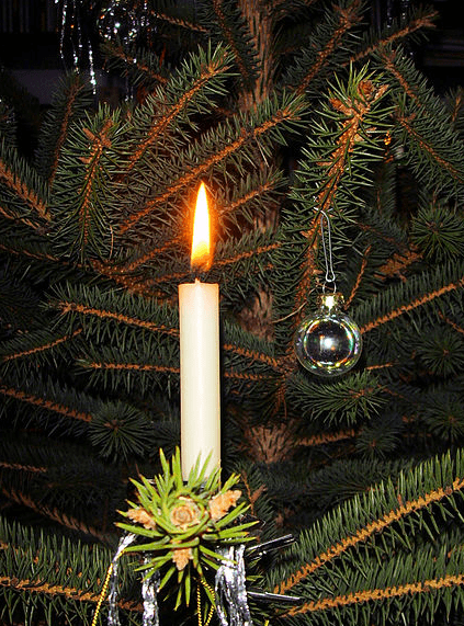 photo of a candle on a Christmas tree