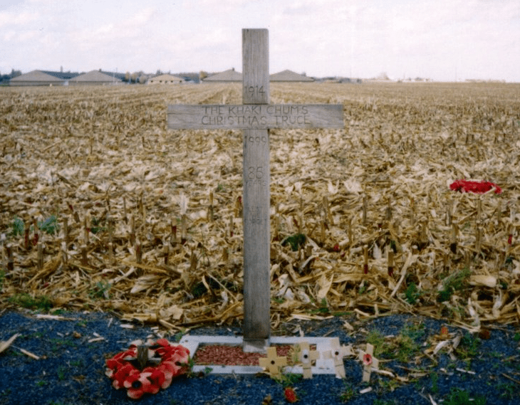 photo of a cross erected in Belgium in 1999 to commemorate the WWI Christmas truce of 1914