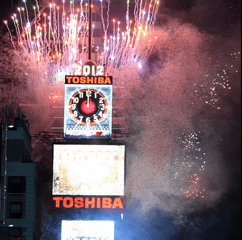 photo of the New Year ball drop event in New York City's Times Square, 2012
