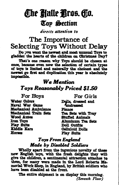 Christmas toys ad, Plain Dealer newspaper advertisement 8 November 1918