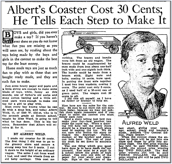 Albert Weld's Coaster Cost 30 Cents; He Tells Each Step to Make It, Plain Dealer newspaper article 21 November 1915