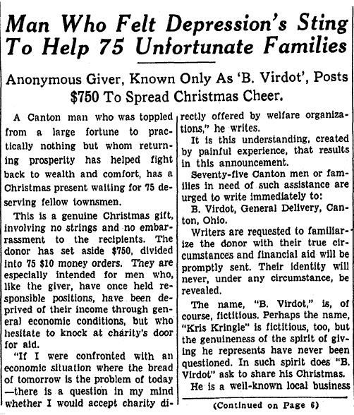 Man Who Felt Depression's Sting to Help 75 Unfortunate Families, Repository newspaper article 18 December 1933