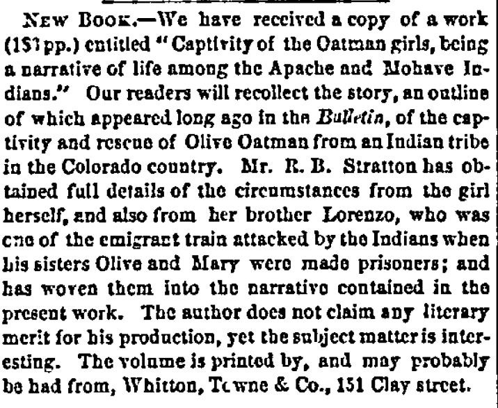 article about Olive Oatman's Indian captivity, San Francisco Bulletin newspaper article 3 April 1857