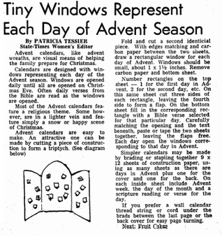 article about Advent calendars, State Times Advocate newspaper article 2 December 1972