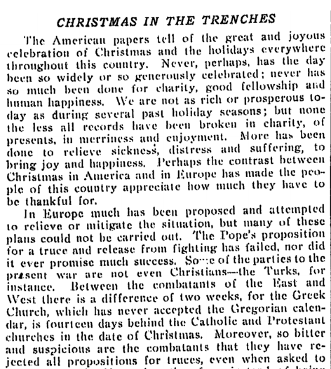 article about WWI Christmas truce in 1914, Times-Picayune newspaper article 26 December 1914