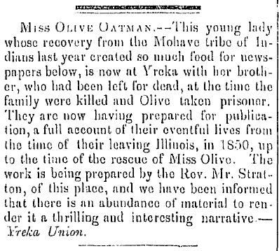 article about Olive Oatman's Indian captivity, Weekly Oregonian newspaper article 21 February 1857