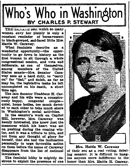 commentary about Hattie Caraway being elected the nation's first female U.S. senator, Aberdeen Daily News newspaper article 6 February 1932