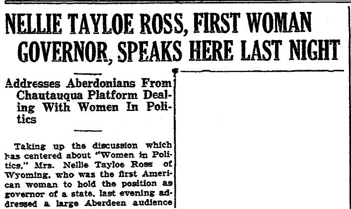 article about a speech by Nellie Ross, Aberdeen Daily News newspaper article 27 June 1930