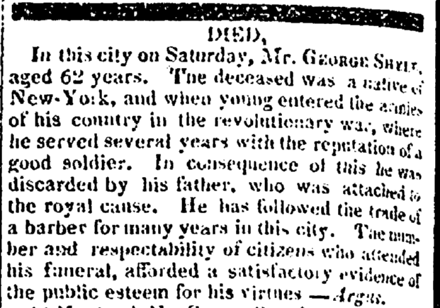 obituary for George Shell, Albany Gazette newspaper article 15 August 1818