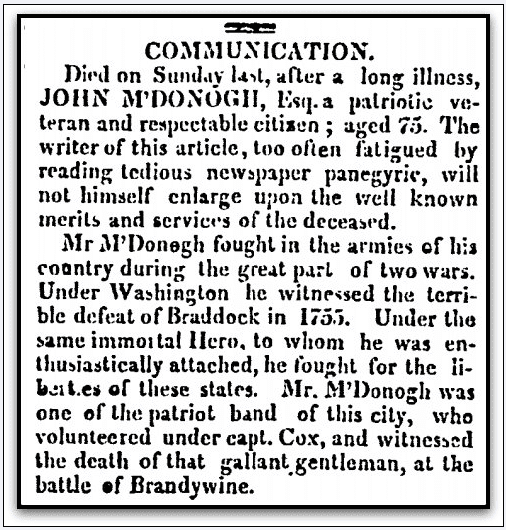obituary for John McDonogh, American and Commercial Daily Advertiser newspaper article 22 March 1809