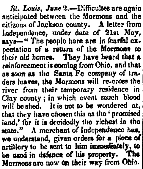 article about the conflict with the Mormons in Missouri, Arkansas Weekly Gazette newspaper article 24 June 1834