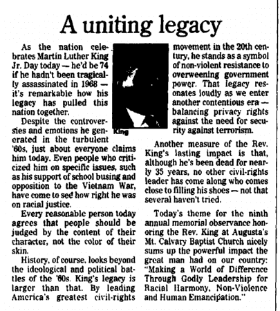 editorial about Martin Luther King, Jr.'s legacy, Augusta Chronicle newspaper article 20 January 2003
