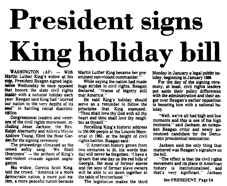 President Signs King Holiday Bill, Augusta Chronicle newspaper article 3 November 1983