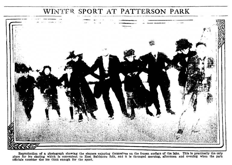 photo of people ice skating, Baltimore American newspaper article 13 December 1910