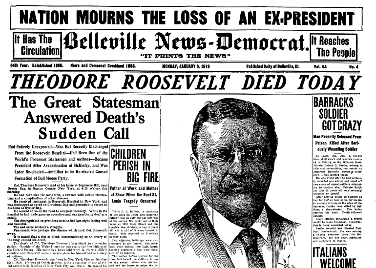 article about the death of Theodore Roosevelt, Belleville News Democrat  newspaper article 6 January 1919