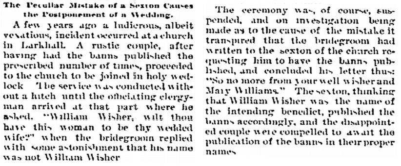 article about wedding banns, Biloxi Herald newspaper article 16 December 1893