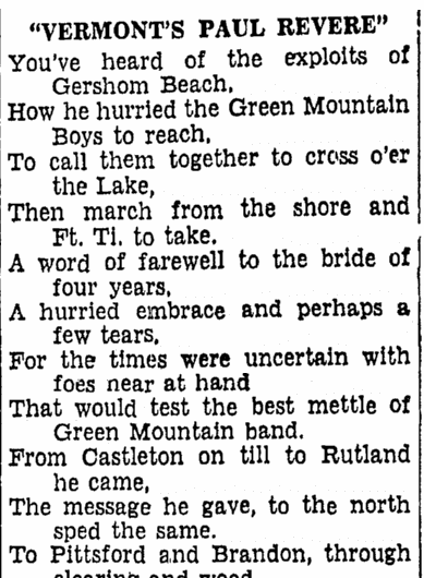 poem about Gershom Beach, Boston Herald newspaper article 29 June 1939