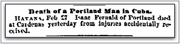 obituary for Isaac Fernald, Boston Journal newspaper article 28 February 1871