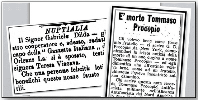 collage of articles from Italian American newspapers
