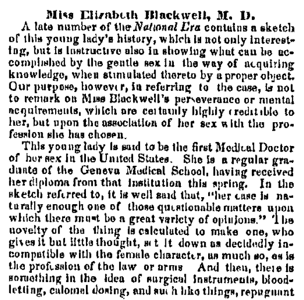article about Elizabeth Blackwell, Daily Ohio Statesman newspaper article 25 April 1849