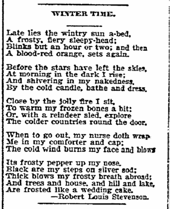 "the poem ""Winter Time"" by Robert Louis Stevenson, Duluth News-Tribune newspaper article 14 January 1903"