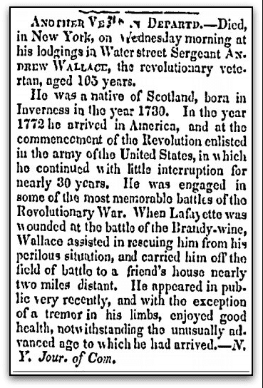 obituary for Andrew Wallace, Elyria Republican newspaper article 19 February 1835