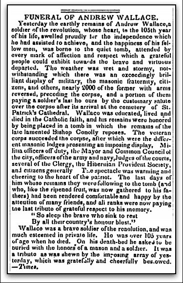 Funeral of Andrew Wallace, Evening Post newspaper article 26 January 1835
