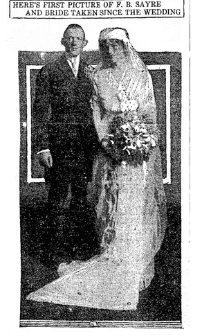 wedding photo for Frances Bowes Sayre and Jessie Wilson, Evening Times newspaper article 29 November 1913
