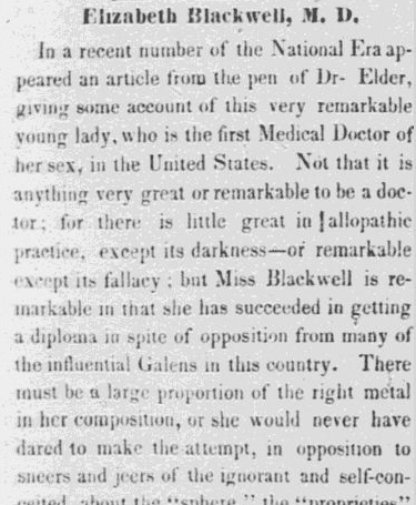 article about Elizabeth Blackwell, Frederick Douglass' Paper newspaper article 20 April 1849