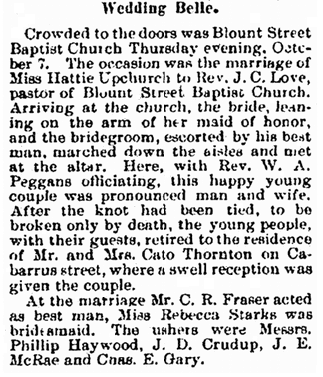wedding notice for J. C. Love and Hattie Upchurch, Gazette newspaper article 30 October 1897