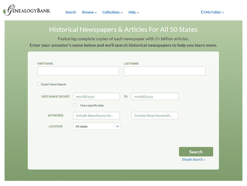 A screenshot of GenealogyBank's home page