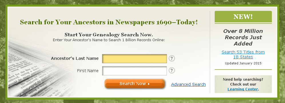 screenshot of GenealogyBank's home page announcing the addition of eight million more records