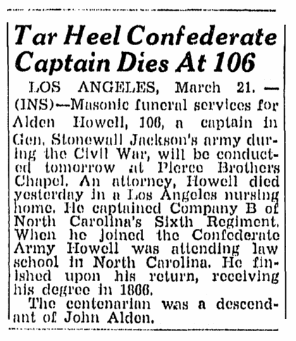 obituary for Alden Howell, Greensboro Record newspaper article 21 March 1947