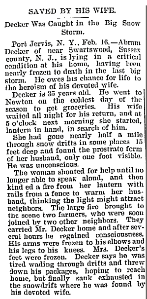 Saved by His Wife: Decker Was Caught in the Big Snowstorm, Idaho Daily Statesman newspaper article 18 February 1898